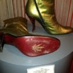 Beautiful gold/green hand made Italian leather boots with a marijuana leaf stamped into the sole.